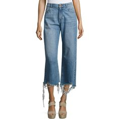 Dl 1961 Hepburn High-Rise Wide-Leg Jeans with Shredded Hem ($198) ❤ liked on Polyvore featuring jeans, blue, women's apparel jeans, cropped jeans, zipper jeans, wide leg blue jeans, high waisted jeans and faded jeans