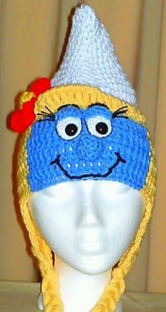 Blue Gal Earflap Hat. #smurf #smurfette #crochet