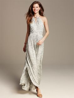 Must-have summer wear for day or night. The grey jersey maxi dress from Banana Republic is pure style.