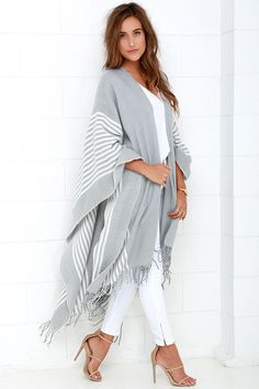 Swiss Alps Ivory and Grey Striped Poncho at Lulus.com!