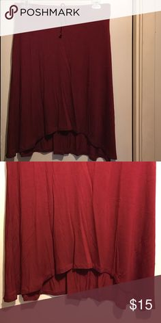 Hi Low Knit Skirt Brand new. Wine - color. The size states a 2X but it definitely looks like a 1X. I ordered it but when I seen how small it look; I knew I couldn't fit. It's so pretty I just don't have time running back to post office because it's crazy busy. Price Firm. Sociology Skirts High Low