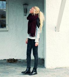Get this look (sweater, pants, scarf, boots) http://kalei.do/WcsjORcOaca5Tcox