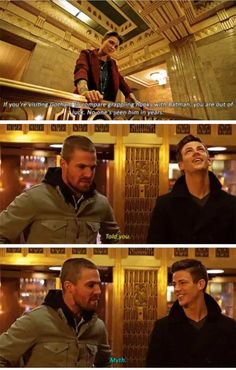 """""""Elseworlds, Part - Barry and Oliver are so different and with such an opposite type that they are so funny together! Superhero Shows, Superhero Memes, Arrow Tv Series, Cw Series, The Cw Shows, Dc Tv Shows, Supergirl Dc, Supergirl And Flash, Team Arrow"""