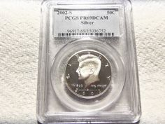 2002-S PCGS CERT.PROOF 69 DEEP CAMEO  KENNEDY SILVER HALF DOLLAR -90% SILVER