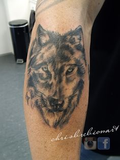 Black and grey wolf (forearm)  http://instagram.com/chrisbrebionart/ https://www.facebook.com/ChrisBrebionArt