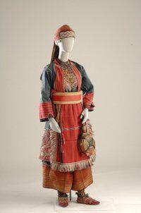 Bridal dress from Baltza - Thessaloniki. © Museum of Greek Folk Art. Greek Traditional Dress, Traditional Outfits, Historical Costume, Historical Clothing, Period Costumes, Greek Costumes, Macedonia, Thessaloniki, Folk Costume