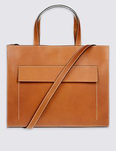 Leather Contrast Stitch Tote Bag | M&S