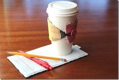 Pencil and Paper Drink Sleeve and Mat