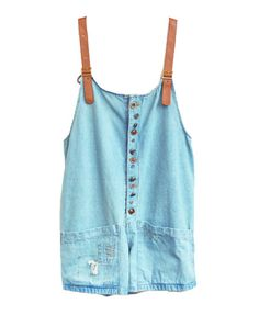 Short Denim Bib Overalls with Ripped Patch Pockets