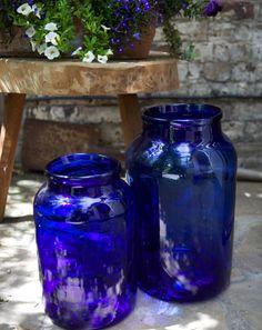 vintage Belgian blue glass