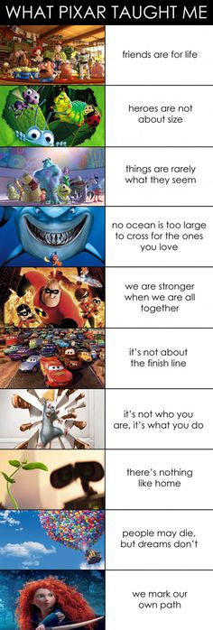 Funny pictures about What Pixar Taught Me. Oh, and cool pics about What Pixar Taught Me. Also, What Pixar Taught Me photos. Humour Disney, Funny Disney Memes, Disney Facts, Funny Memes, Funny Quotes, True Quotes, Funny Videos, Pixar Facts, Pixar Quotes