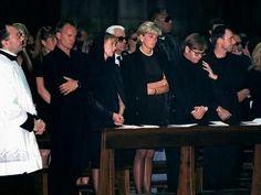 Princess Diana @ Versace funeral. Sitting next to Sir Elton John.