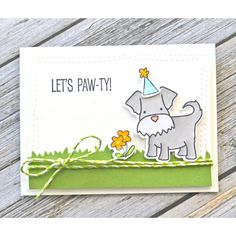 Dog in Party Hat Happy Birthday card.  Avery Elle Clear Stamps MORE FURRY FRIENDS Set 024991