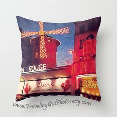 Pillow Cover travel photography Moulin Rouge Paris night lights red gold blue dusk France home decor gift pillow case on Etsy, $40.00