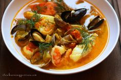 Bouillabaisse, from the Provincial Mediterranean port city of Marseilles. Full of local seafood, saffron, olive oil, fennel, and orange peel.