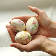Easter eggs- hand felted Easter decoration, pastel Easter eggs, Best wishes from Europe, made to order. $27.00, via Etsy.