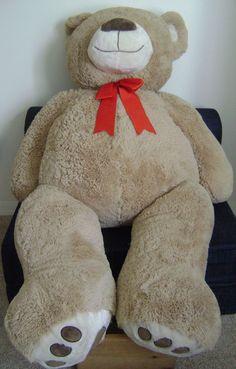 Life Size Jumbo Teddy Bear Plush Chrisha Huge Girl Boy Stuffed Animal Red Bow 54 #Chrisha Jumbo Teddy Bear, Big Teddy, Legos, Vintage Outfits, Plush, Bows, Costumes, Antiques, Red