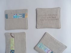 "Set of four linen coasters || linen fabric with patchwork detail || hand-stamped stanza from ""Sea Fever"" by John Masefield on reverse by BurroInteligente on Etsy"
