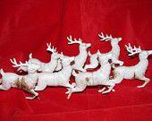Vintage 1960's Christmas Plastic Reindeer Decorations, Santa's 7 Reindeer, Rudolph, Bambi's cousin, Retired, at  Animal Hospital retro 60's