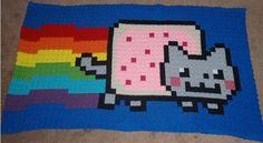 Nyan Cat Throw/Blanket! Handmade! Crochet! 8-Bit!