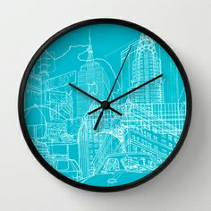 New York! Blueprint Wall Clock By David Bushell