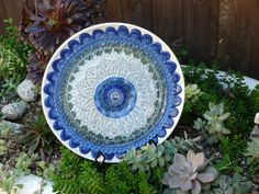 DJ's Drought Resistant Plate Flowers. #22.    Garden Yard Art glass and ceramic plate flower