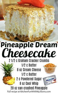 Pineapple Cheesecake, Baked Pineapple, Pineapple Desserts, Easy No Bake Cheesecake, Baked Cheesecake Recipe, Pineapple Recipes, Pinapple Dream Dessert, Pineapple Dream Cake, Summer Cheesecake