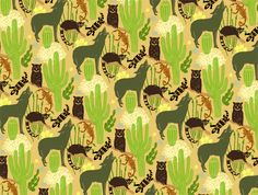 Desert Pattern inspired by the flora and fauna of the Sonoran desert.    Silverplatypus