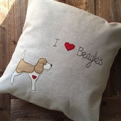 Beagle cushion, Beagle pillow, I love Beagles (lemon colour, standing) appliquéd and embroidered cushion with vintage style floral backing by BeaglenThread on Etsy https://www.etsy.com/listing/223888412/beagle-cushion-beagle-pillow-i-love
