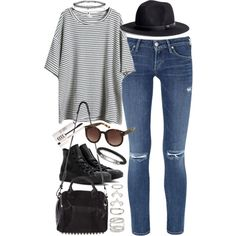 outfit for college by im-emma on Polyvore featuring Citizens of Humanity, Converse, Alexander Wang, Forever 21, Thomas Sabo, Miss Selfridge, H&M and Topshop