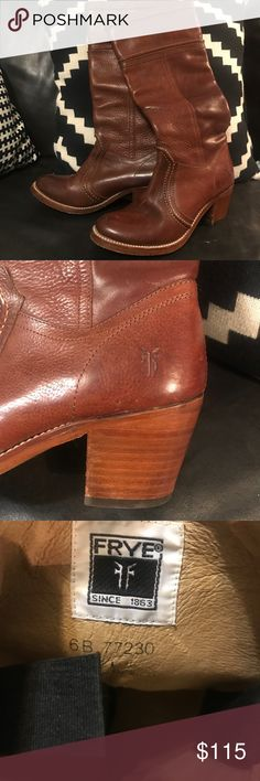 Frye boots size 6B *Jane* brown leather! Riding The Jane Frye boots. Barely worn!!! Only minor scuffs (see pics) gorgeous brown leather boots. Timeless. Paid over 300.00. Frye Shoes Heeled Boots