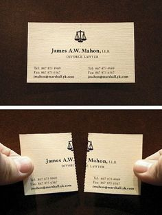 Divorce attorney's perforated business card. Brilliant!