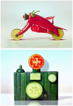 "Romanian self-proclaimed eco artist Dan Cretu gave a new meaning to the phrase ""playing with food."""