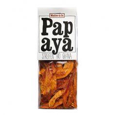 Bio Papaya Streifen  Baumreif geerntet und frisch weiterverarbeitet behalten die Bio-Papaya aus Ghana de schöne Farbe und den intensiven Geschmack. 100% Bio Fruchtgenuss, ohne zugefügten Zucker (nicht kandiert!) Snack Recipes, Snacks, Chips, Ghana, Amp, Food, Products, Dried Fruit, Sugar