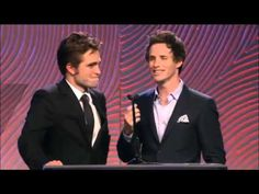 Rob and Eddie Redmayne presenting at the HFPA Charity Banquet, 8-14-14