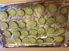 Baked cucumber slices -- yummy, low carb treat! I made them without the cheese and they were still delicious