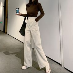 [Style] Wholesale Fashion High Waisted Corduroy Wide Leg Pants from China to Japan Korean Outfits, Mode Outfits, Fall Outfits, Fashion Outfits, Office Outfits, Casual Office, Office Wear, Modest Fashion, Looks Chic