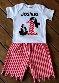 Pirate 1st Birthday Outfit Onesie T-shirt Clothes -All sizes & numbers available
