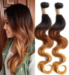 Hot Ombre Brazilian Human Hair Extensions Body Wave 1b33#27# 50g/pc 6A Hair Weft #WIGISS #HairExtension
