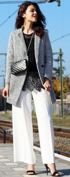 Fashion Container Houndstooth Coat On Lace Fall Street Style Inspo