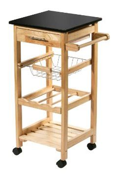 Premier Housewares Kitchen Trolley with Black Granite Top - 79 x 37 x 37 cm - Rubberwood: Amazon.co.uk: Kitchen & Home