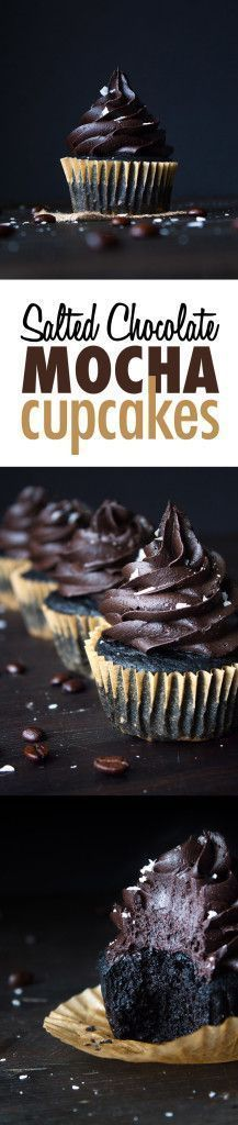 Salted Chocolate Mocha Cupcakes | Dairy and gluten free, vegan friendly.