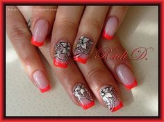Neon French & Flowers by RadiD from Nail Art Gallery