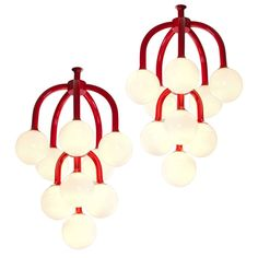 Set of Two Coral Red Scandinavian Chandeliers | From a unique collection of antique and modern chandeliers and pendants at https://www.1stdibs.com/furniture/lighting/chandeliers-pendant-lights/
