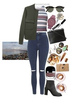 """Untitled #930"" by brooklynrebelle ❤ liked on Polyvore featuring Elizabeth and James, Topshop, Moncler, MM6 Maison Margiela, Martha Stewart, BCBGMAXAZRIA, Poketo, Ray-Ban, Charlotte Tilbury and Komono"