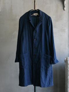 Cotton/linen coat in navy from Vlas Blomme for Summer 2015 #vlasblomme