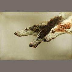 MAUD EARL, British (1864-1943). Daughter of painter George Earl. Painted dogs. Became very well known during Victorian times. Queen Victoria was a patron. Studied at the Royal Female School of Art. Artwork: Borzoi Heads