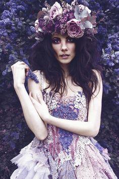 'Regal Rose' photoshoot   Clothing by 'Naturally Bohemian'  Photographer : Camilla Felgate    Hair and makeup : Amber Cobb   Model : Izadora  Floral headdress : Jo Flowers
