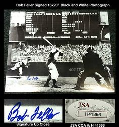 """Bob Feller Signed 16x20 Hall of Fame Cleveland Indians Photo 1936-56 HOF JSA COA . $55.00. Hall of Fame Major League PitcherBob FellerHand Signed 16x20"""" Black and White PhotographFeller played his entire career with the Cleveland Indians (1936-1956) andwas inducted into the Hall of Fame as a player in 1962.GREAT AUTHENTIC BOB FELLER BASEBALL COLLECTIBLE!!AUTOGRAPH AUTHENTICATED BY JAMES SPENCE AUTHENTICATIONS (JSA) WITH JSA STICKER ON ITEM AND JSA CERTIFICATE OF A..."""