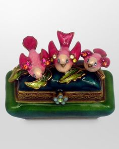 Pink Birds On Floral Trinket Box